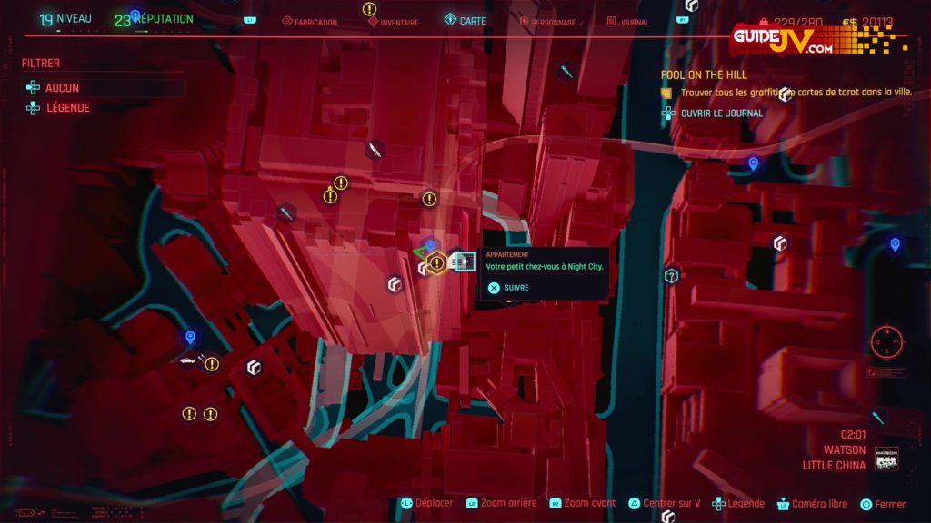 cyberpunk-2077-emplacements-graffitis-fresques-cartes-de-tarot-fool-on-the-hill-guide-trophee-succes-le-voyage-du-fou